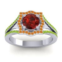 Ornate Halo Naksatra Garnet Ring with Citrine and Peridot in 18k White Gold