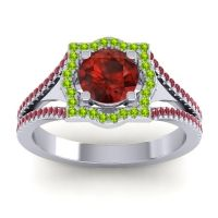 Ornate Halo Naksatra Garnet Ring with Peridot and Ruby in Platinum
