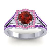 Ornate Halo Naksatra Garnet Ring with Pink Tourmaline and Amethyst in Platinum