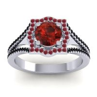 Ornate Halo Naksatra Garnet Ring with Ruby and Black Onyx in 14k White Gold