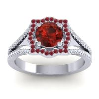 Ornate Halo Naksatra Garnet Ring with Ruby and Diamond in Palladium