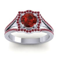 Ornate Halo Naksatra Garnet Ring with Ruby in Platinum