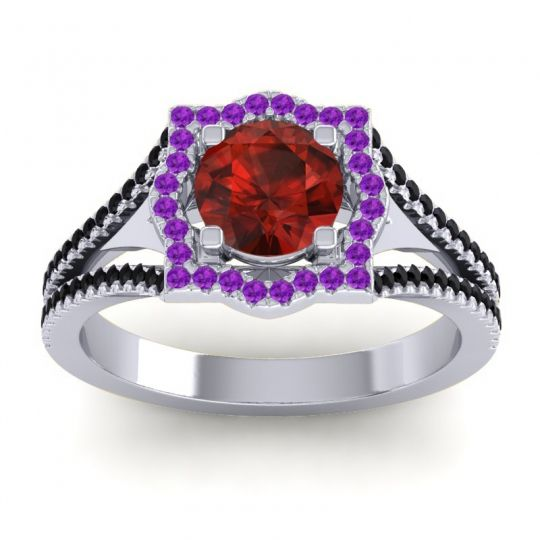 Ornate Halo Naksatra Garnet Ring with Amethyst and Black Onyx in 14k White Gold