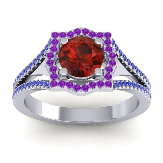 Ornate Halo Naksatra Garnet Ring with Amethyst and Blue Sapphire in 14k White Gold