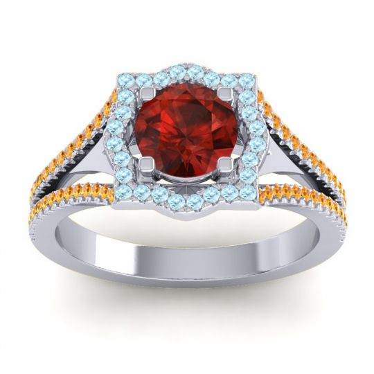 Ornate Halo Naksatra Garnet Ring with Aquamarine and Citrine in 14k White Gold
