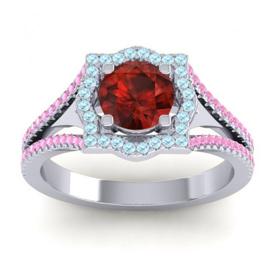 Ornate Halo Naksatra Garnet Ring with Aquamarine and Pink Tourmaline in 14k White Gold