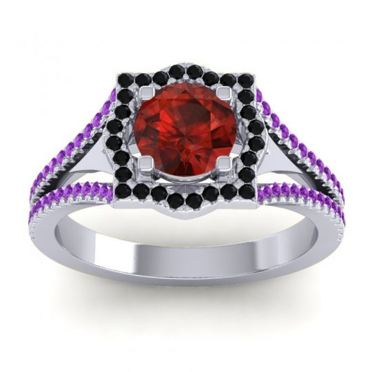 Ornate Halo Naksatra Garnet Ring with Black Onyx and Amethyst in 14k White Gold