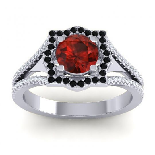 Ornate Halo Naksatra Garnet Ring with Black Onyx and Diamond in 18k White Gold