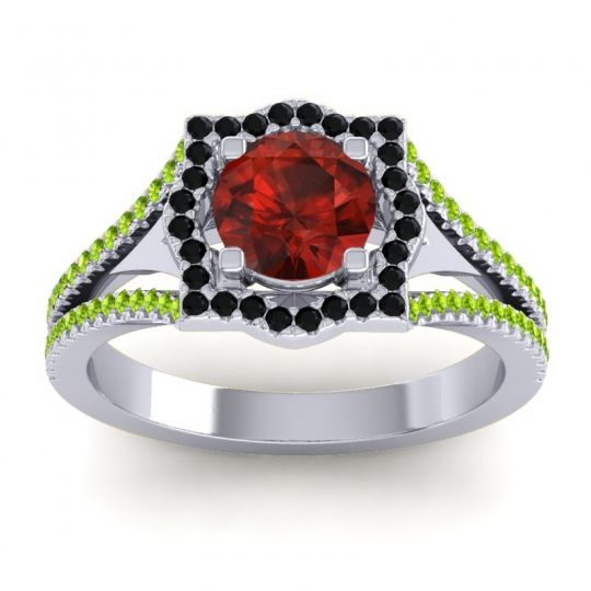 Ornate Halo Naksatra Garnet Ring with Black Onyx and Peridot in Palladium
