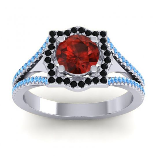 Ornate Halo Naksatra Garnet Ring with Black Onyx and Swiss Blue Topaz in Platinum