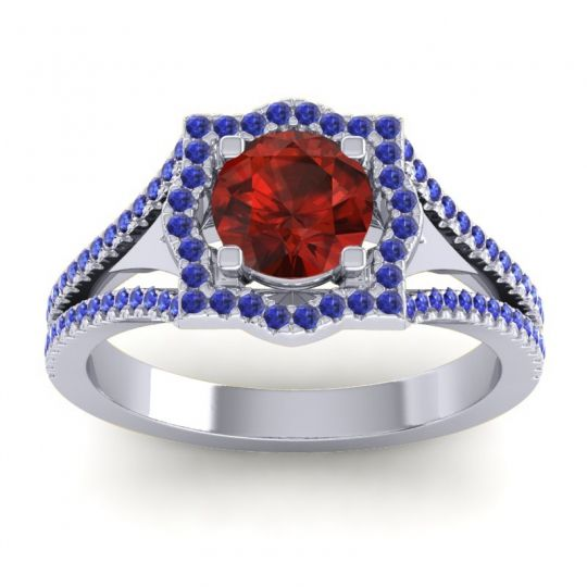 Ornate Halo Naksatra Garnet Ring with Blue Sapphire in 14k White Gold