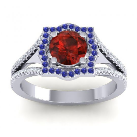 Ornate Halo Naksatra Garnet Ring with Blue Sapphire and Diamond in 18k White Gold