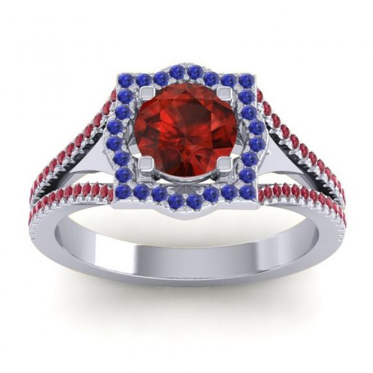 Ornate Halo Naksatra Garnet Ring with Blue Sapphire and Ruby in 18k White Gold