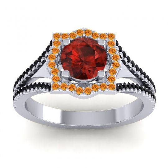 Ornate Halo Naksatra Garnet Ring with Citrine and Black Onyx in Palladium