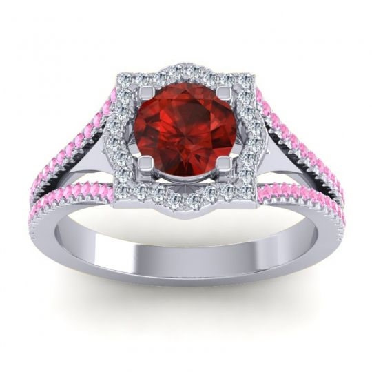 Ornate Halo Naksatra Garnet Ring with Diamond and Pink Tourmaline in Platinum