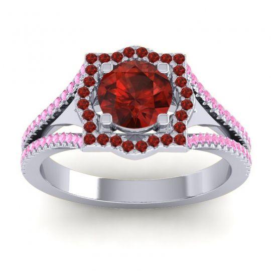Ornate Halo Naksatra Garnet Ring with Pink Tourmaline in 18k White Gold