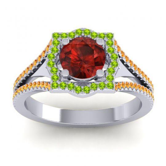 Ornate Halo Naksatra Garnet Ring with Peridot and Citrine in Platinum