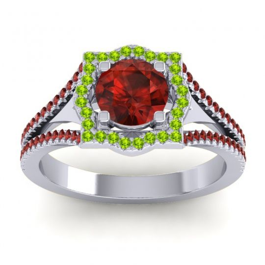 Ornate Halo Naksatra Garnet Ring with Peridot in 18k White Gold