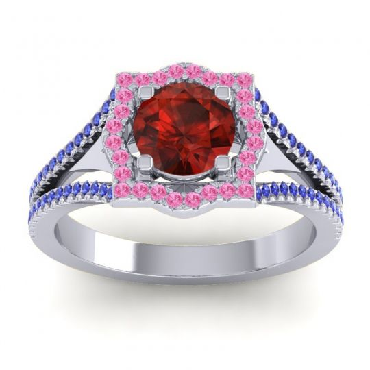 Ornate Halo Naksatra Garnet Ring with Pink Tourmaline and Blue Sapphire in 14k White Gold