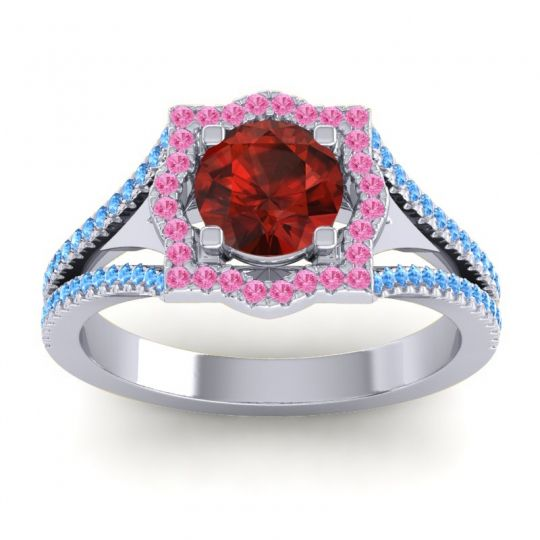 Ornate Halo Naksatra Garnet Ring with Pink Tourmaline and Swiss Blue Topaz in 18k White Gold