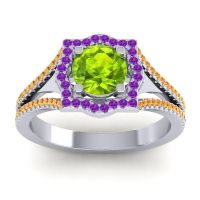 Ornate Halo Naksatra Peridot Ring with Amethyst and Citrine in 18k White Gold