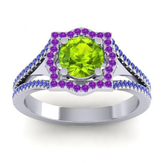 Ornate Halo Naksatra Peridot Ring with Amethyst and Blue Sapphire in Palladium