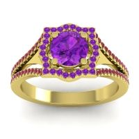 Ornate Halo Naksatra Amethyst Ring with Ruby in 18k Yellow Gold