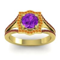 Ornate Halo Naksatra Amethyst Ring with Citrine and Garnet in 14k Yellow Gold