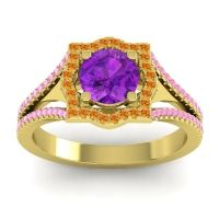 Ornate Halo Naksatra Amethyst Ring with Citrine and Pink Tourmaline in 18k Yellow Gold