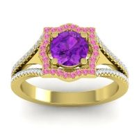 Ornate Halo Naksatra Amethyst Ring with Pink Tourmaline and Diamond in 18k Yellow Gold