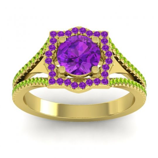 Ornate Halo Naksatra Amethyst Ring with Peridot in 18k Yellow Gold
