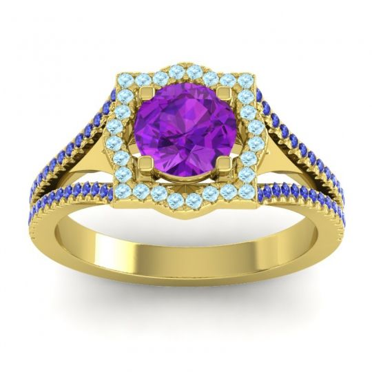 Ornate Halo Naksatra Amethyst Ring with Aquamarine and Blue Sapphire in 18k Yellow Gold