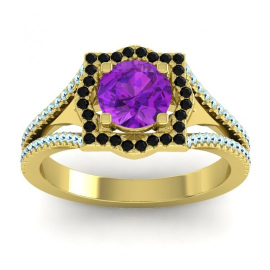 Ornate Halo Naksatra Amethyst Ring with Black Onyx and Aquamarine in 14k Yellow Gold