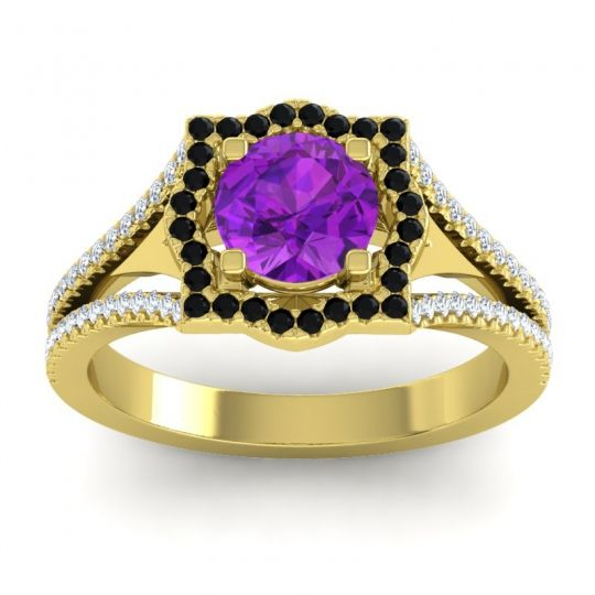 Ornate Halo Naksatra Amethyst Ring with Black Onyx and Diamond in 18k Yellow Gold