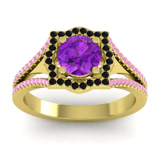 Ornate Halo Naksatra Amethyst Ring with Black Onyx and Pink Tourmaline in 14k Yellow Gold