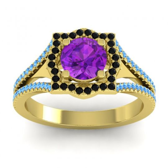Ornate Halo Naksatra Amethyst Ring with Black Onyx and Swiss Blue Topaz in 14k Yellow Gold