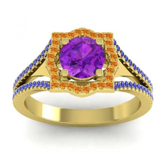 Ornate Halo Naksatra Amethyst Ring with Citrine and Blue Sapphire in 18k Yellow Gold