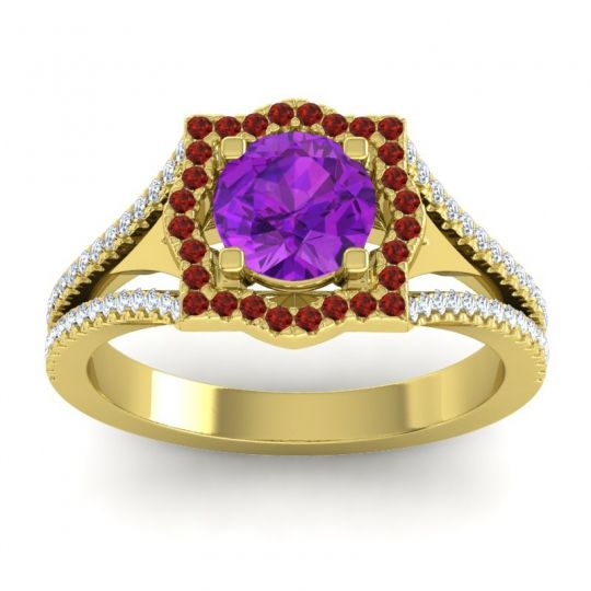 Ornate Halo Naksatra Amethyst Ring with Garnet and Diamond in 14k Yellow Gold