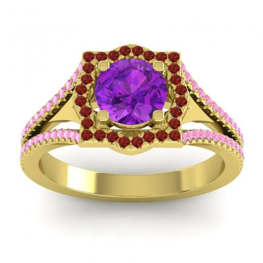 Ornate Halo Naksatra Amethyst Ring with Garnet and Pink Tourmaline in 18k Yellow Gold