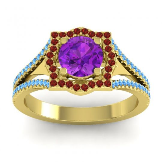 Ornate Halo Naksatra Amethyst Ring with Garnet and Swiss Blue Topaz in 18k Yellow Gold