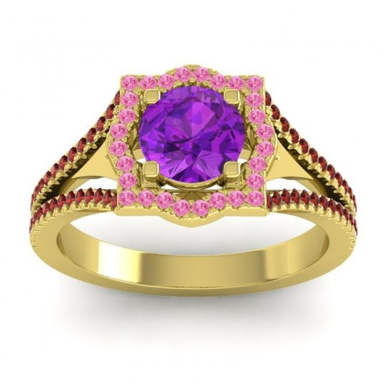 Ornate Halo Naksatra Amethyst Ring with Pink Tourmaline and Garnet in 18k Yellow Gold