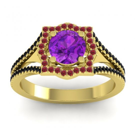 Ornate Halo Naksatra Amethyst Ring with Ruby and Black Onyx in 18k Yellow Gold