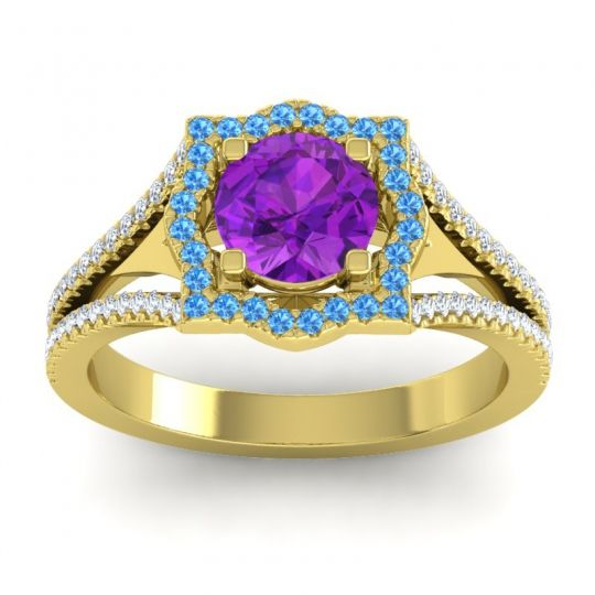 Ornate Halo Naksatra Amethyst Ring with Swiss Blue Topaz and Diamond in 14k Yellow Gold