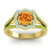 Ornate Halo Naksatra Citrine Ring with Aquamarine and Peridot in 18k Yellow Gold