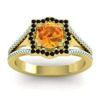 Ornate Halo Naksatra Citrine Ring with Black Onyx and Aquamarine in 14k Yellow Gold