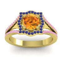 Ornate Halo Naksatra Citrine Ring with Blue Sapphire and Pink Tourmaline in 18k Yellow Gold