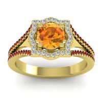 Ornate Halo Naksatra Citrine Ring with Diamond and Garnet in 18k Yellow Gold