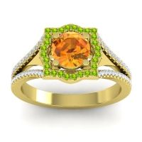 Ornate Halo Naksatra Citrine Ring with Peridot and Diamond in 18k Yellow Gold