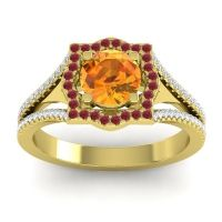 Ornate Halo Naksatra Citrine Ring with Ruby and Diamond in 14k Yellow Gold