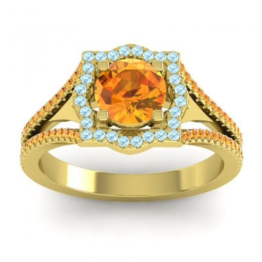 Ornate Halo Naksatra Citrine Ring with Aquamarine in 18k Yellow Gold